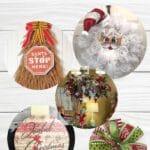 Santa face wreath, Christmas Tree UITC Board wreath, christmas chandelier, decoupage Joyful christmas wood ornament sign, Christmas themed funky bow