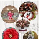 Make Your Own Christmas Decor Tutorials Reindeer door hanger, christmas centerpiece, elf feet door hanger, poinsettia wreath, snow man tree topper