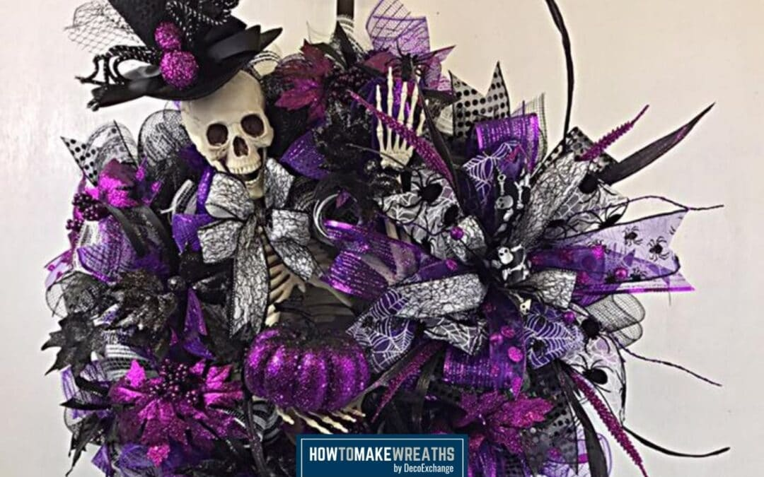 Skeleton Deco Mesh Wreath