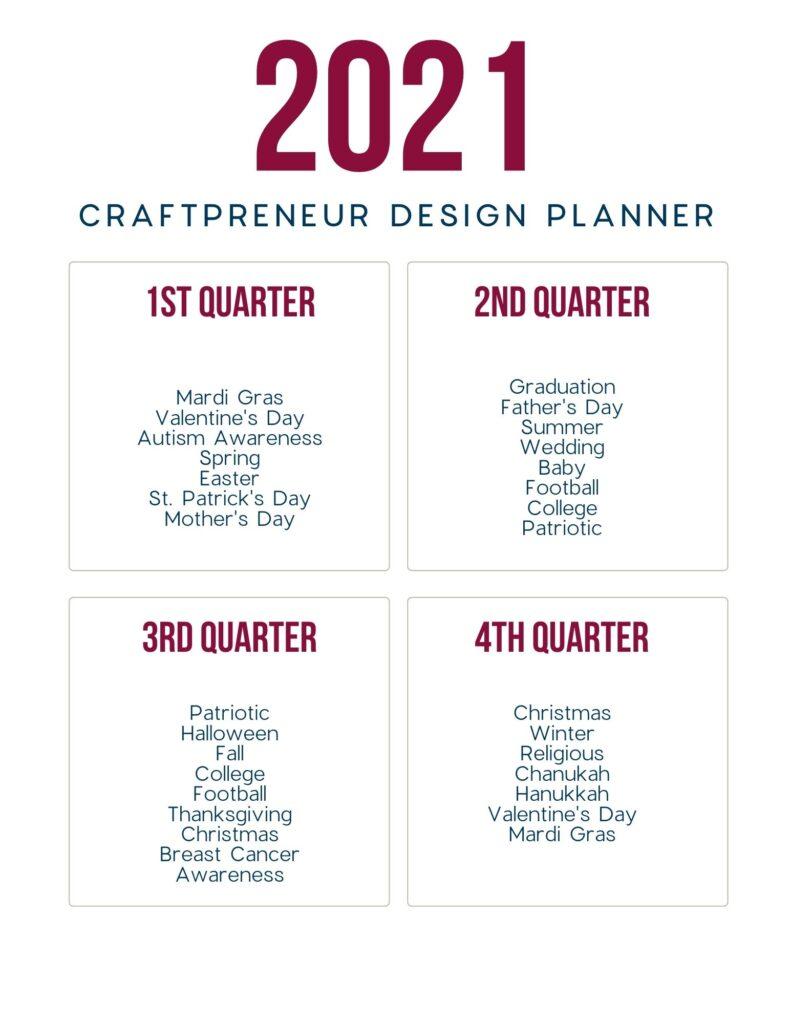 2021 Craftpreneur Design Planner Quarterly Page
