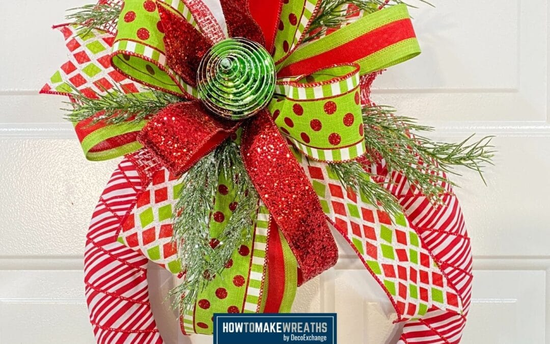 DIY Christmas Wrapped Candy Cane Wreath