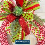 Candy Cane Themed wreath with green and red bow