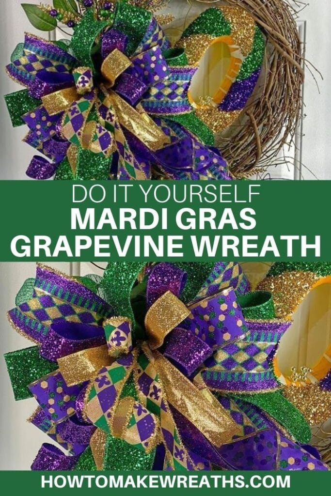 DIY Mardi Gras Grapevine Wreath