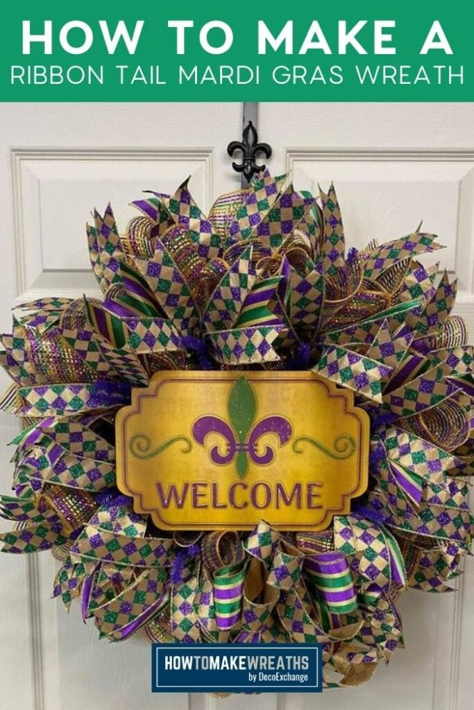 How to Make a Ribbon Tail Mardi Gras Wreath