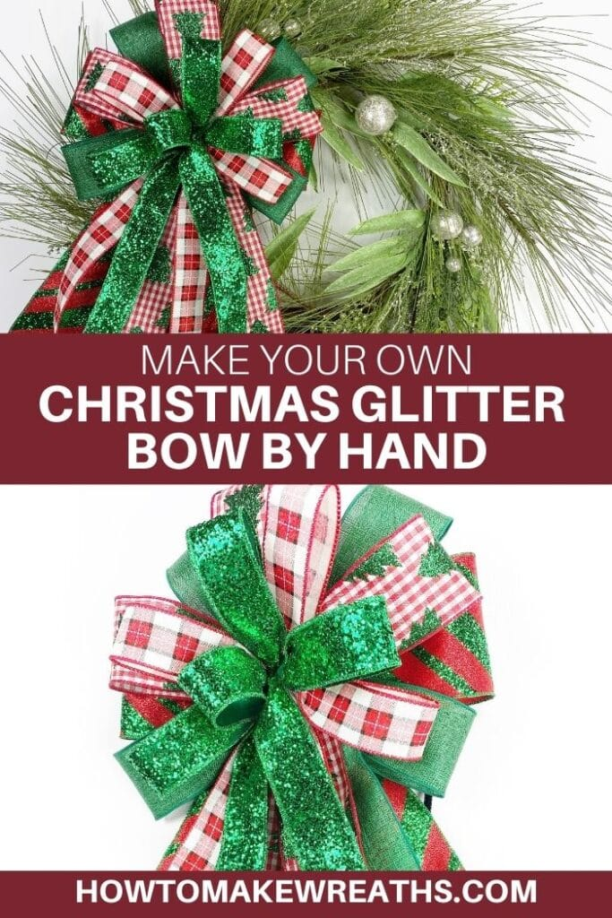 Make Your Own Christmas Glitter Bow by Hand