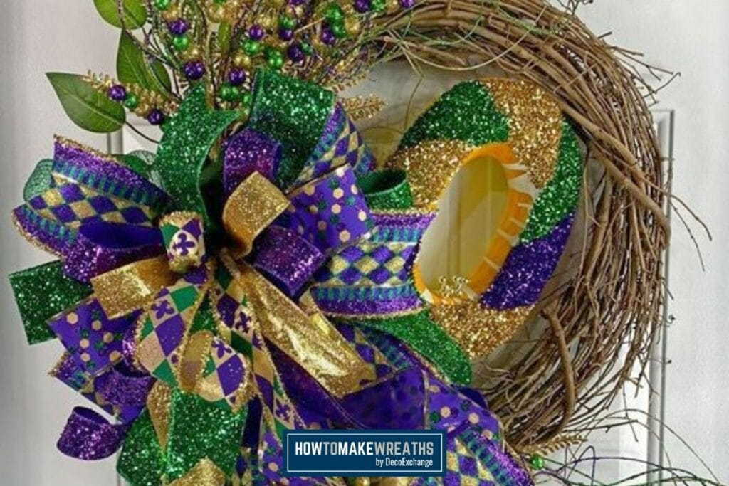 Mardi Gras Grapevine Wreath