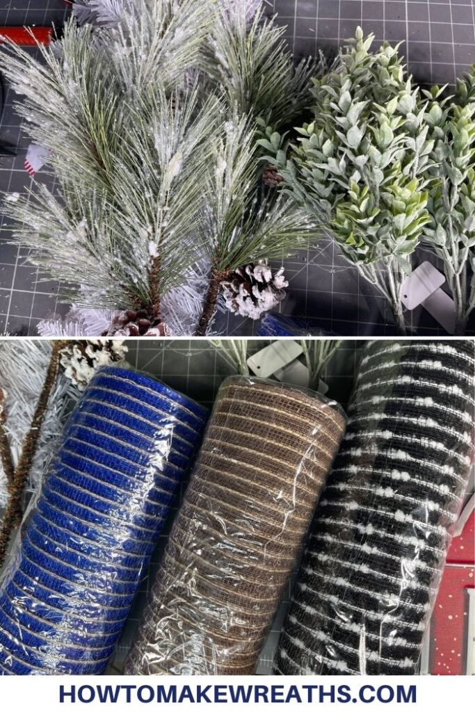 greenery picks and stems, blue, brown, and black deco mesh
