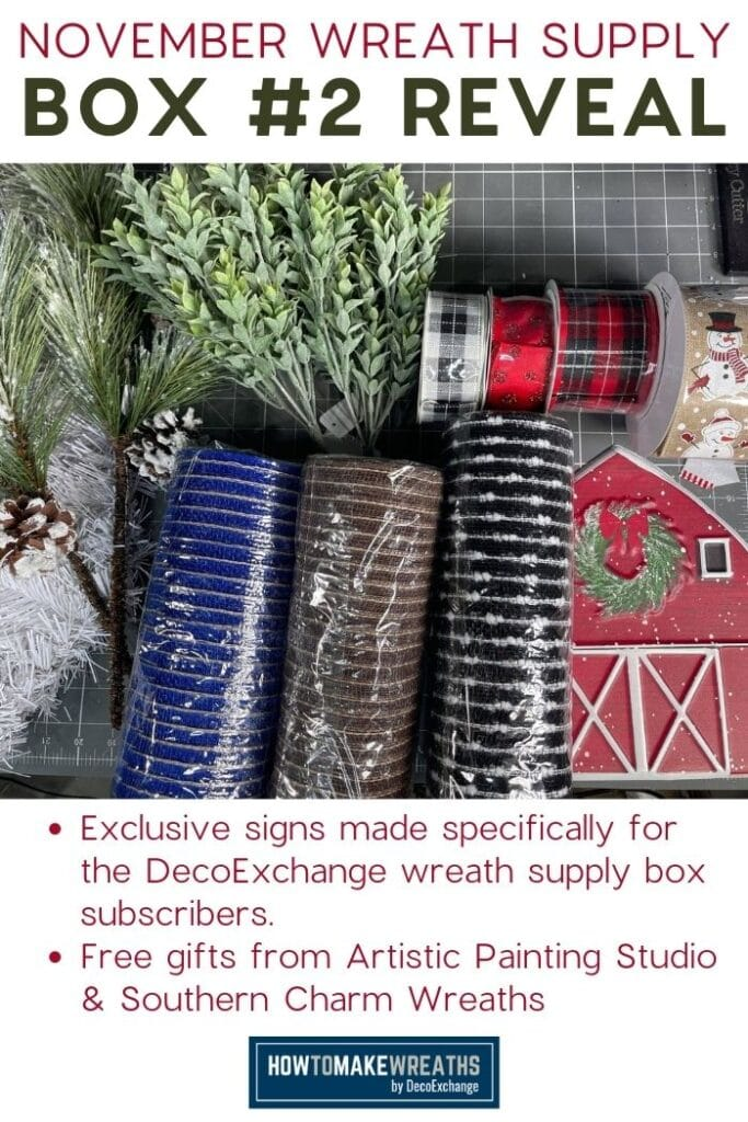 November Wreath Supply Box #2 Reveal, greenery, Christmas wired ribbon, and deco mesh and metal barn sign