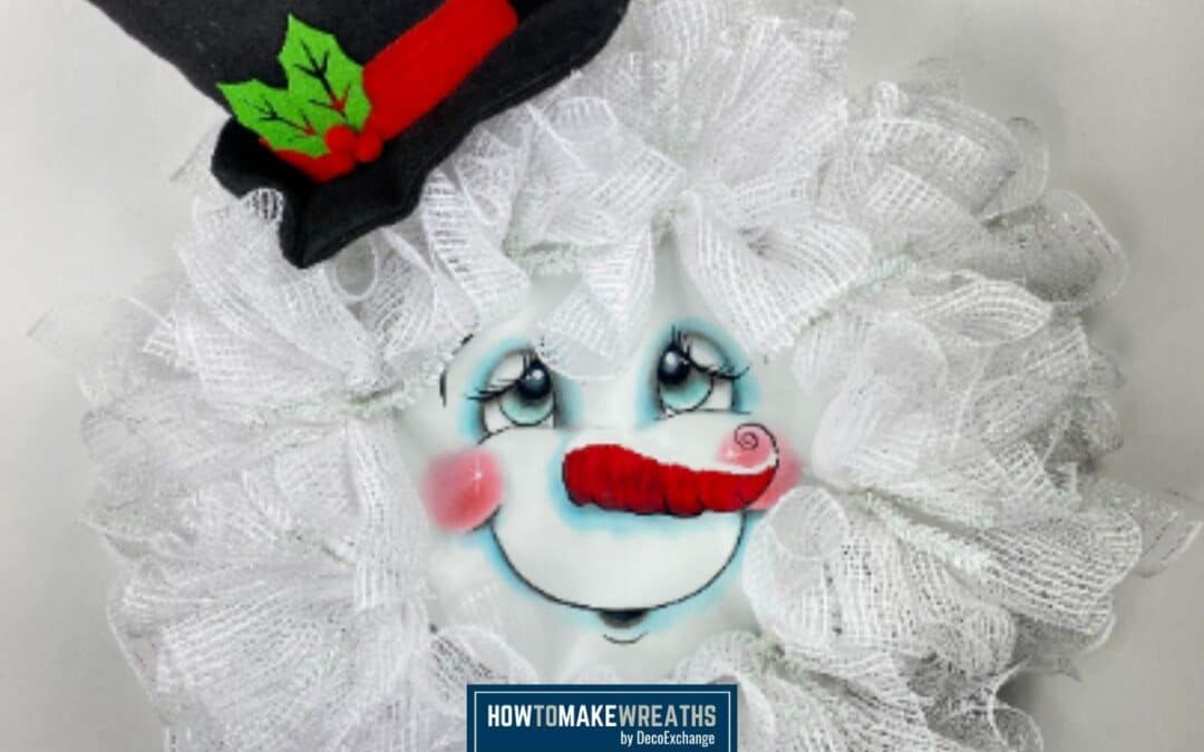 How To Make A Mesh Snowman Wreath with a Face Sign