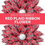 DIY Red Plaid Ribbon Flower