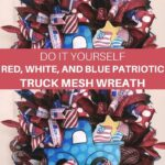 red, white, and blue bows, silver leaf pics, and blue polka dot truck