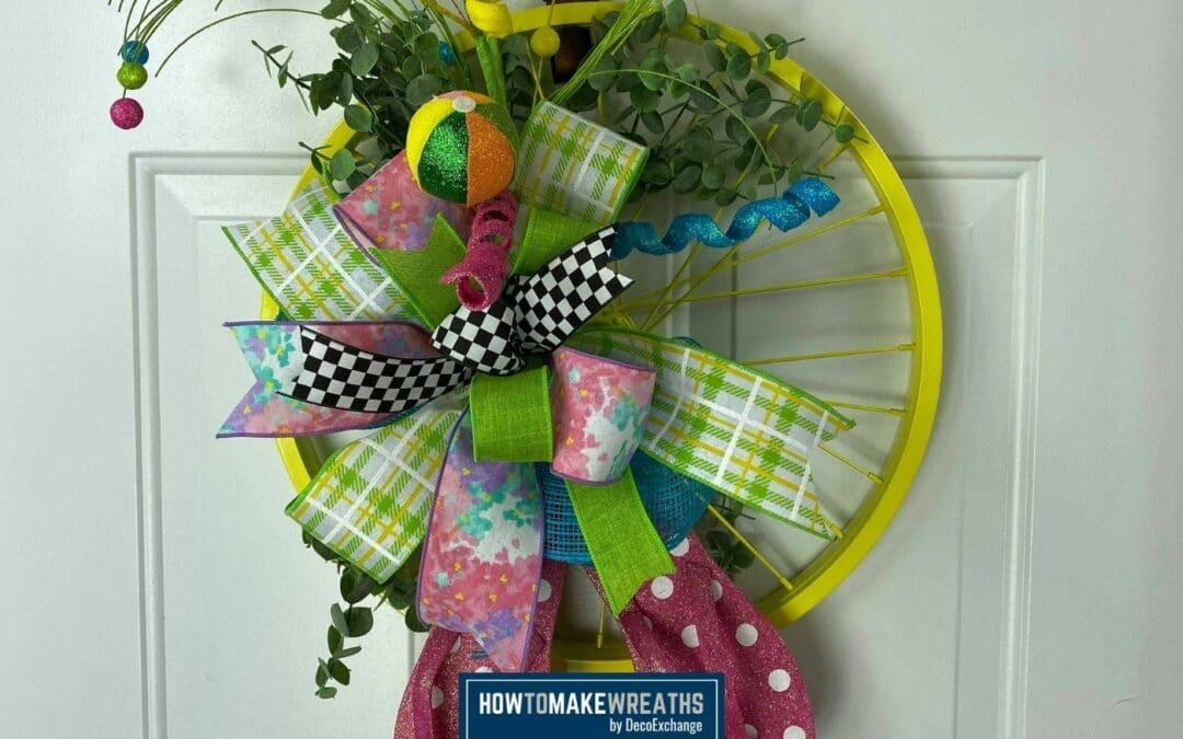 DIY Spring-Themed Bike Wheel Wreath