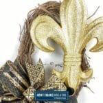 Gold Fleur de Lis Grapevine Wreath