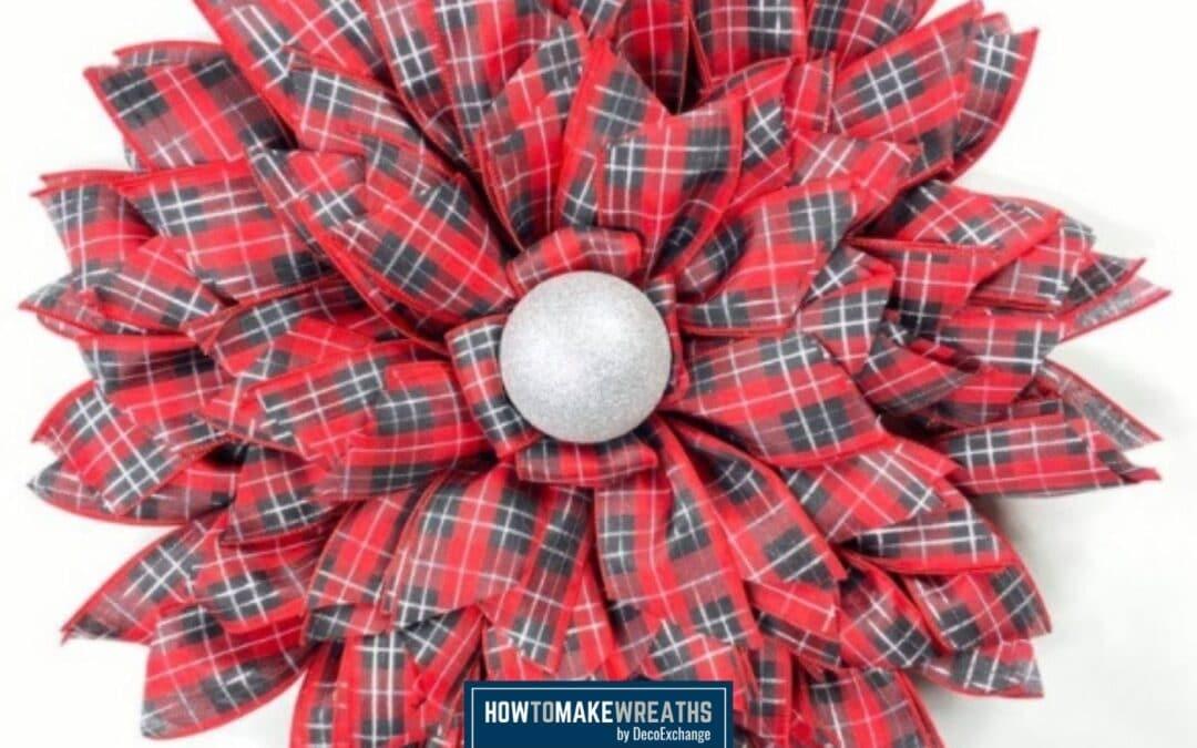 DIY Red Plaid Ribbon Flower Wreath