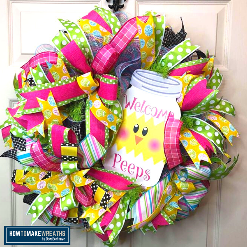 DIY Spring wreath with a chick closeup image
