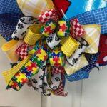 Puzzle Piece Autism Heart Wreath bow