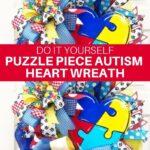DIY Puzzle Piece Autism Heart Wreath