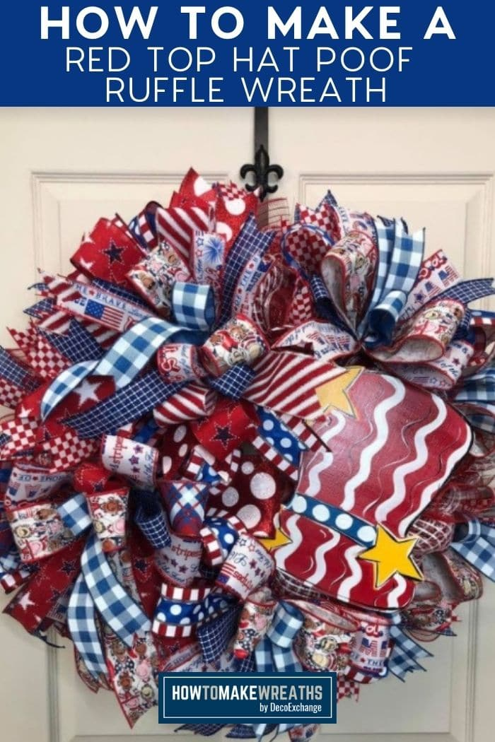 decorative wreath with red top hat sign and red, white, and blue ribbon tails