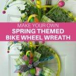 Make Your Own Spring Themed Bike Wheel Wreath