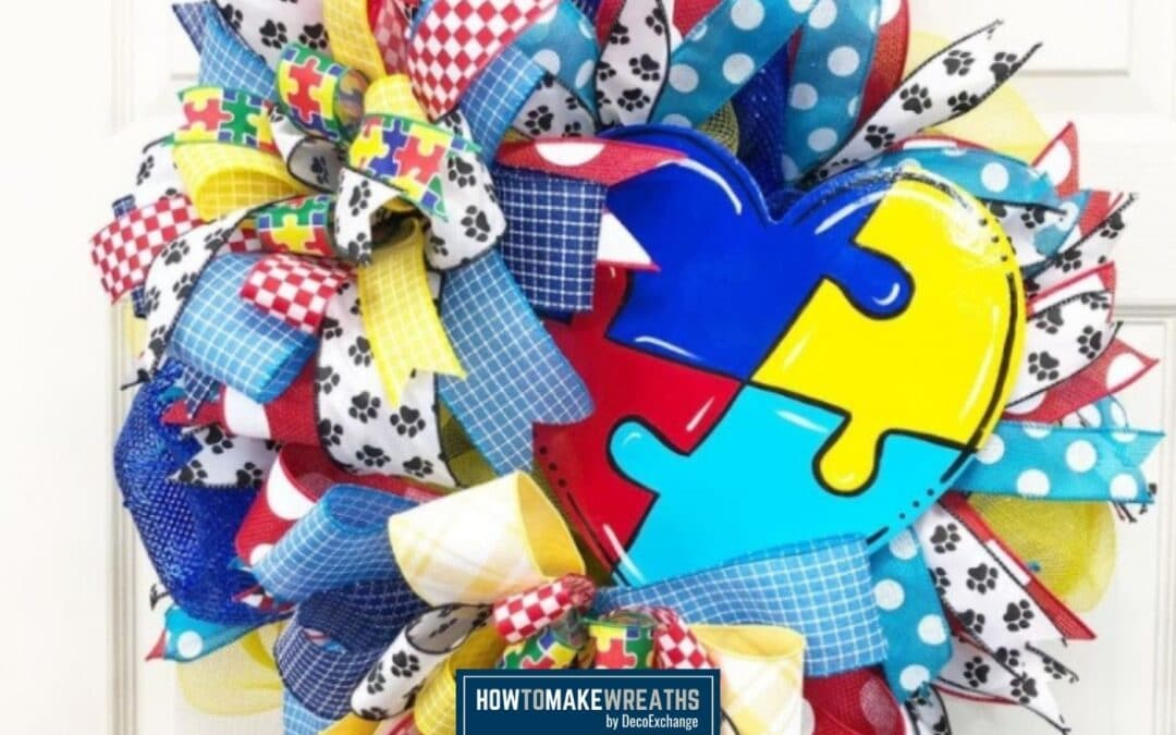 Puzzle Piece Autism Awareness Heart Wreath