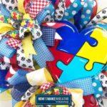 Puzzle Piece Autism Heart Wreath