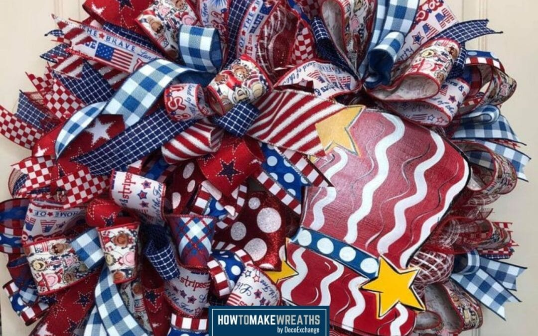 How to Make a Red Top Hat Poof and Ruffle Wreath