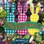 Welcome Plaid Bunnies Wreath