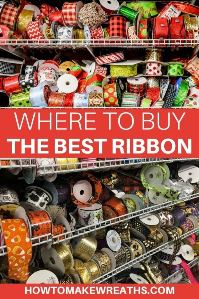 rolls of assorted ribbons on shelves Where to buy the best ribbon