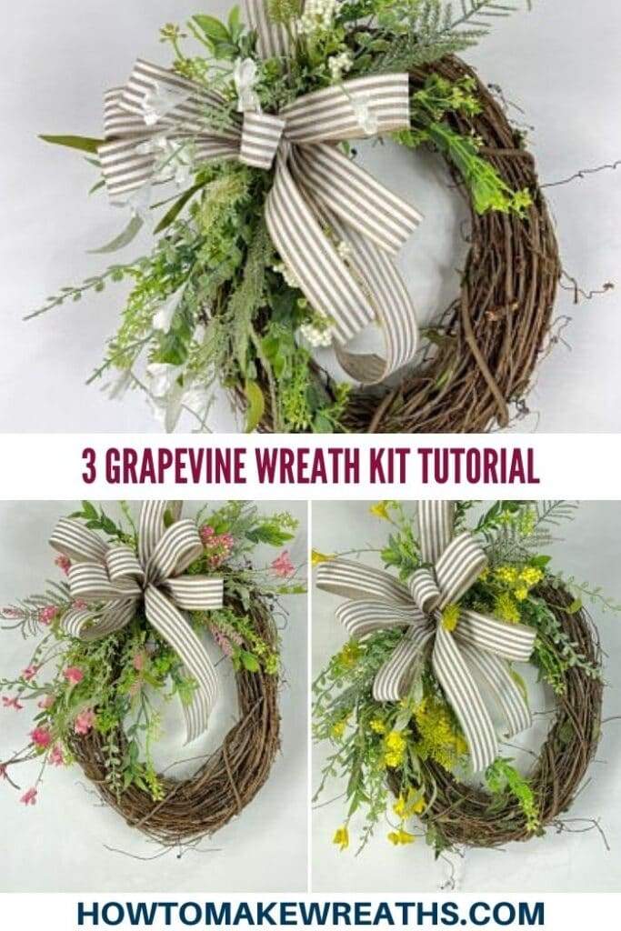 3 Grapevine wreath kit tutorial pin image