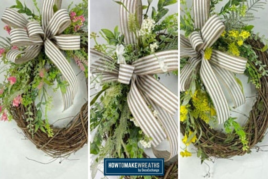 3 different grapevine wreaths image collage