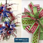 Red white and blue bow, green red and white bow
