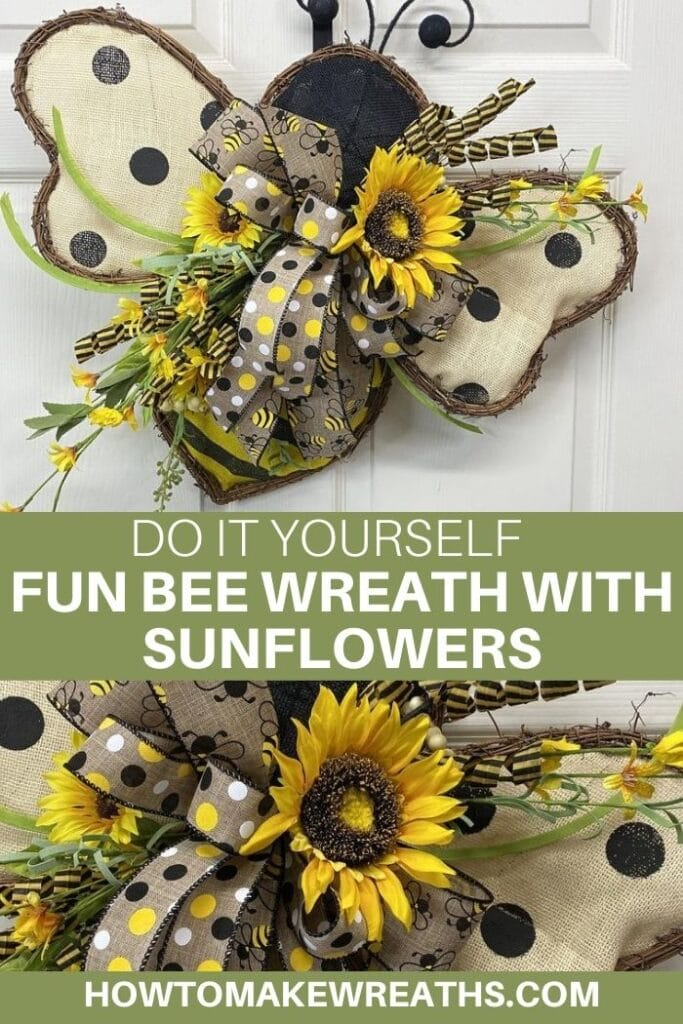 Do It Yourself Fun Bee Wreath with Sunflowers