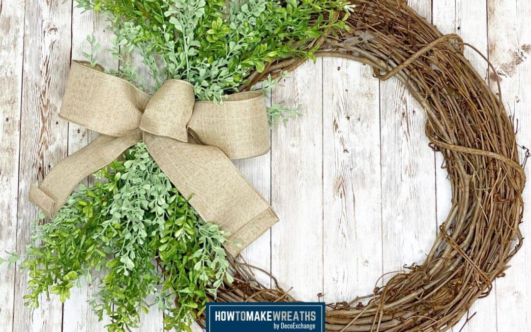 Evergreen and Burlap Grapevine Wreath Tutorial