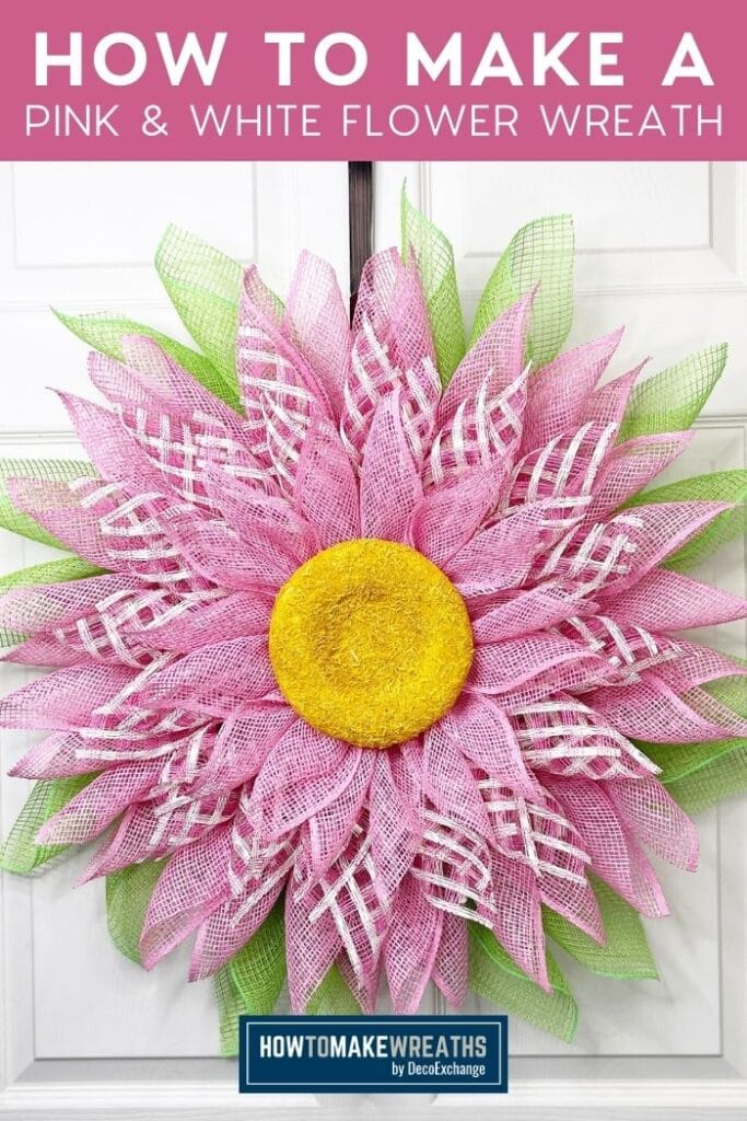 poly burlap and window pain mesh pink and white flower wreath