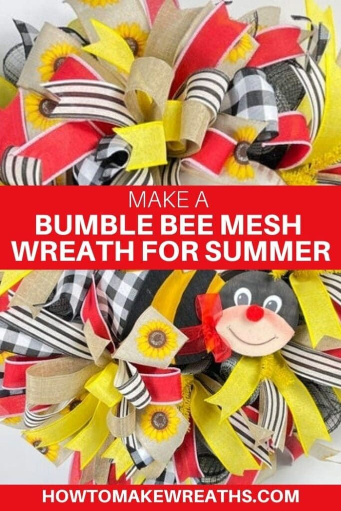 Make a Bumble Bee Mesh Wreath for Summer