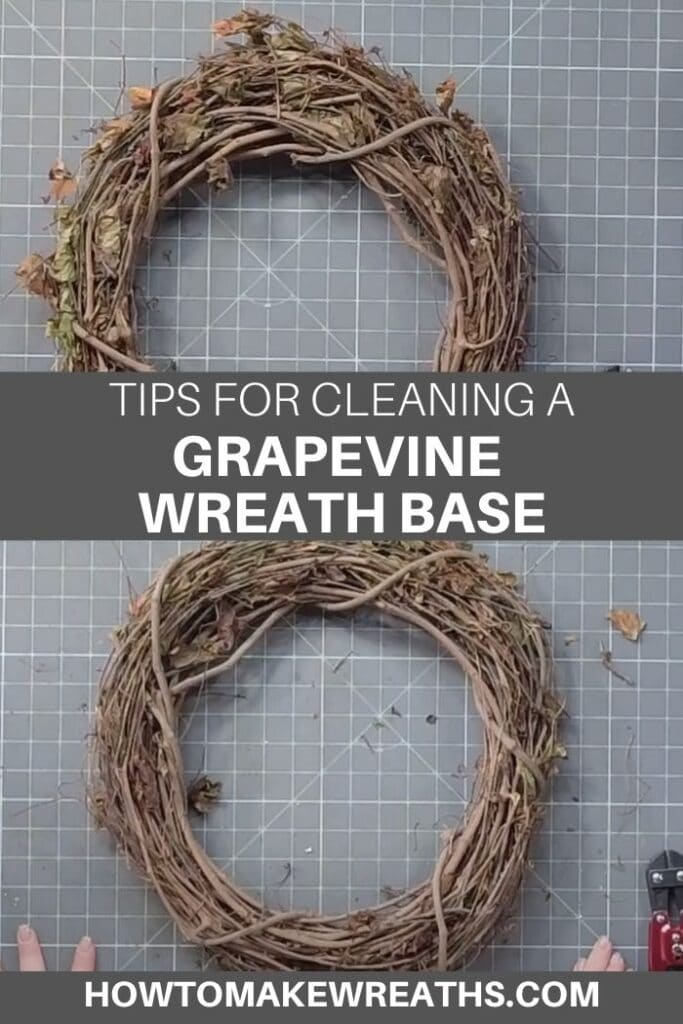 before and after cleaning grapevine wreath base