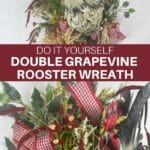 rooster with red bows and greenery pics and sprays on a double grapevine wreath
