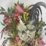 Double Grapevine Rooster Wreath with red bows and greenery picks