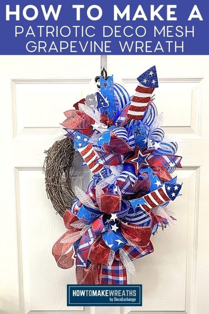 How to Make a Patriotic Deco Mesh Grapevine Wreath