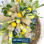 Lemon Grapevine Wreath with Blue and White Florals