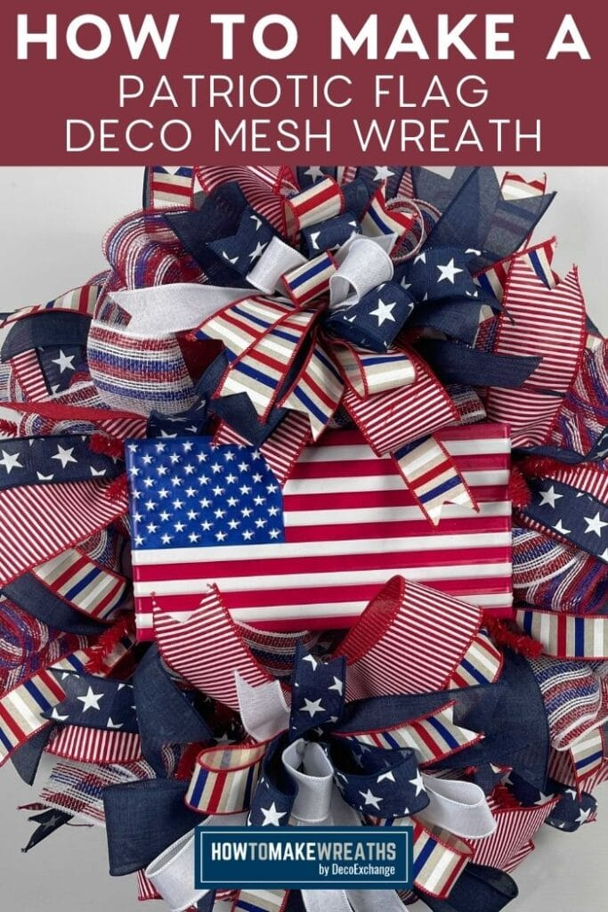 patriotic flag with red, white, and blue bows and ribbon with deco mesh