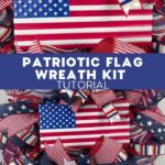 USA flag in the center of red white and blue themed ribbon and mesh wreath