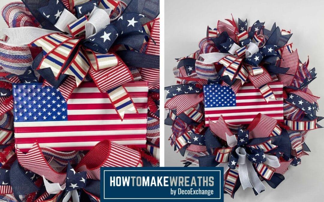 How to Make a Patriotic Flag Deco Mesh Wreath
