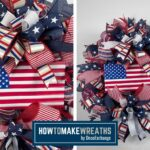 USA flag in center of patriotic wreath