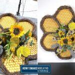Honeycomb and Sunflower Door Hanger