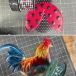 ladybug metal sign with matching ribbons; rooster metal sign with complimentary ribbon