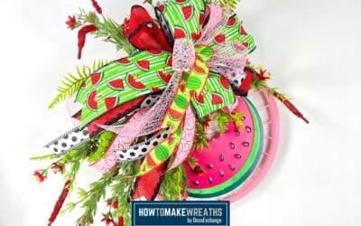 DIY Summer Watermelon Bike Wheel Wreath