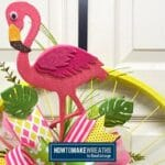 Yellow Bike Wheel Flamingo Wreath
