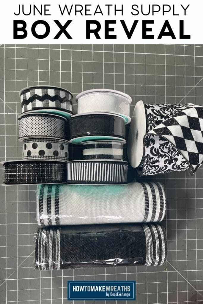 black and white themed ribbons and deco mesh