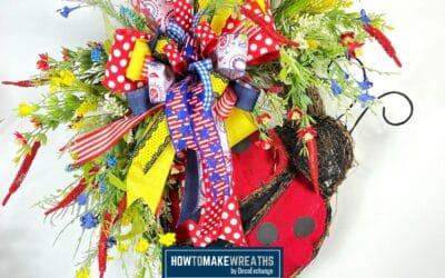 Ladybug Wreath Tutorial: Patriotic Grapevine Wreath With Ladybug Decor